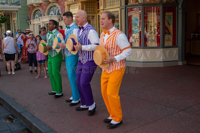 The Dapper Dans is lively barbershop quartet sings in harmony on Main Street at Magic Kingdom  1. Orlando, Florida. May 10, 2019. The Dapper Dans is lively royalty free stock image