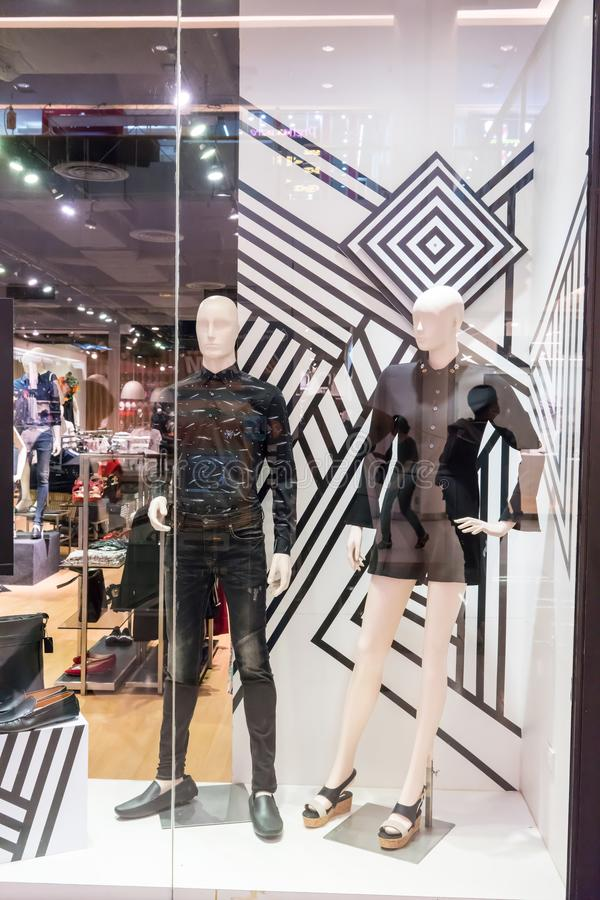 Dapper dp shop at Seacon square, Bangkok, Thailand, Oct 26, 2017. Fashionable clothing brand window display. Collection of casual clothings and accessories stock images