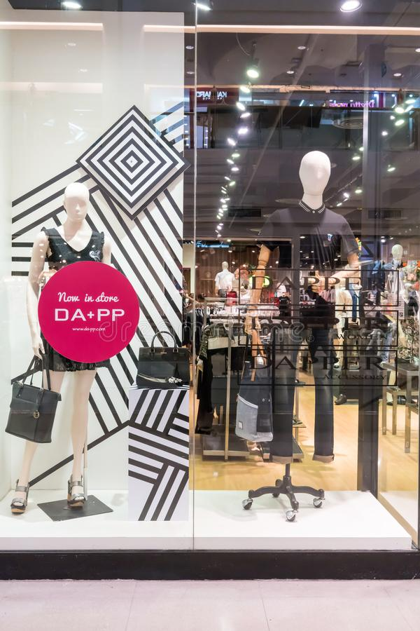 Dapper dp shop at Seacon square, Bangkok, Thailand, Oct 26, 2017. Fashionable clothing brand window display. Collection of casual clothings and accessories stock photography