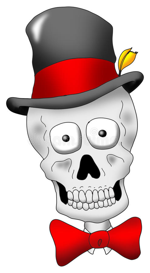 Dapper Skull. A very dapper looking skull with hat and tie vector illustration