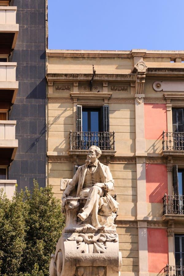 Dapper Statue on La Rambla. Old Dapper Man Statue on La Rambla stock images