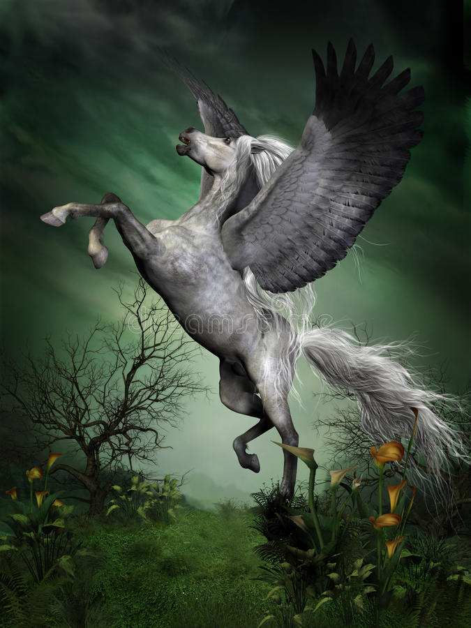 Dapple Grey Pegasus ilustração royalty free