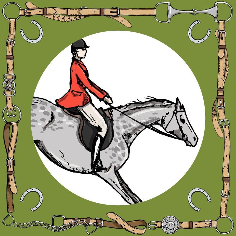 Dapple o cavaleiro cinzento do cavalo no quadro da correia de couro com bocado, ferradura Cavaleiro da caça de raposa do esporte  ilustração royalty free
