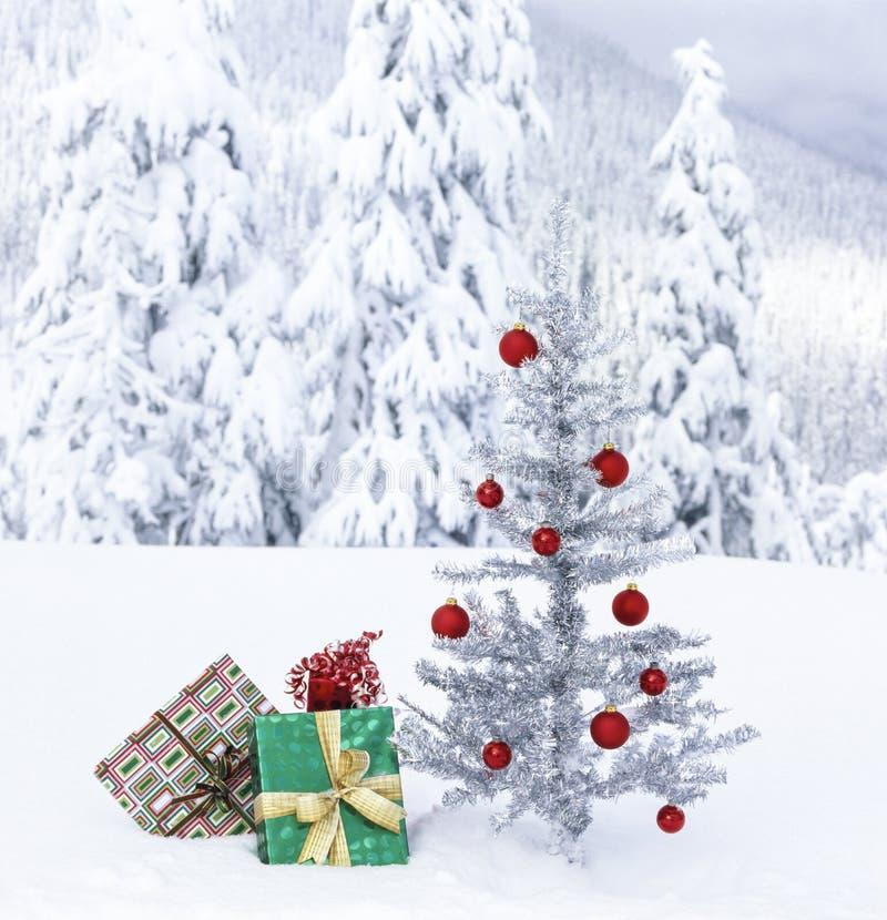 Dar świąteczny pod sztucznym drzewem różańcowym na zewnątrz z zaśnieżnym górskim tłem Rzeczywiste zdjęcie w zimie zdjęcia royalty free