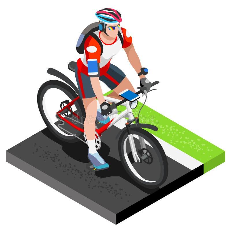Dar certo do ciclista do ciclismo da estrada ciclista 3D isométrico liso na bicicleta Exercícios dando certo exteriores do ciclis ilustração royalty free