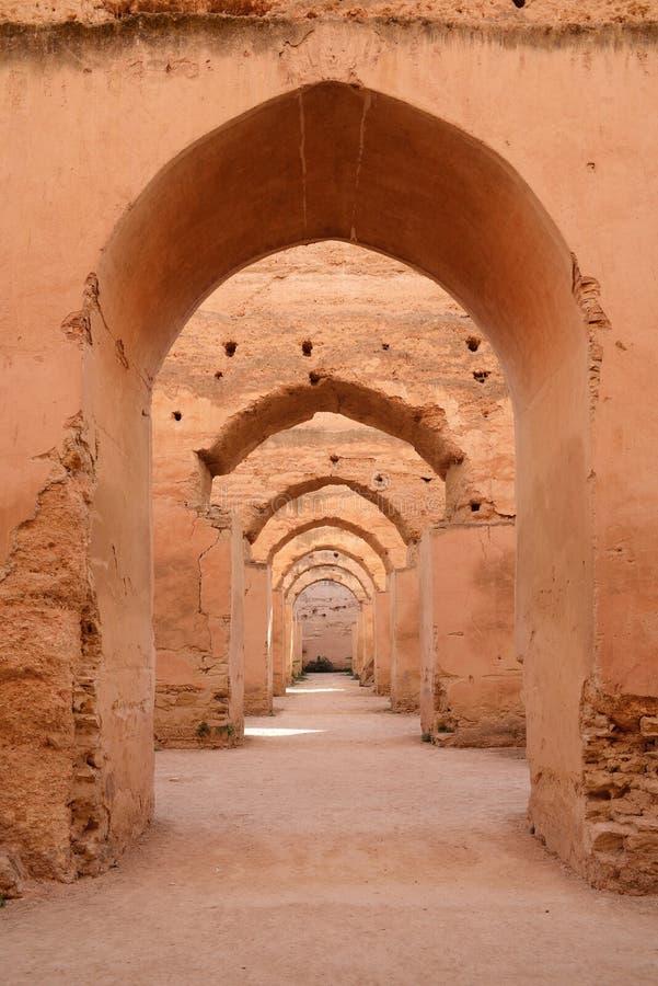 Dar El Makhzen Sułtanu Moulay Ismail stajenki w Meknes, Maroko zdjęcia royalty free