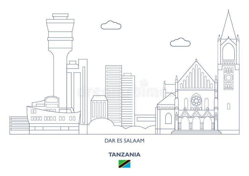 Dar Es Salaam City Skyline, Tansania stock abbildung