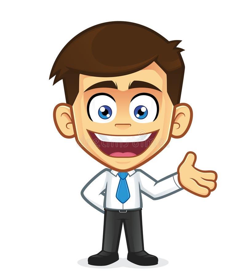Dar la bienvenida al hombre de negocios ilustración del vector