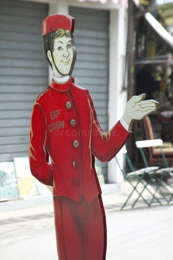 Dar la bienvenida a la muestra en la entrada al restaurante, París, Francia fotos de archivo libres de regalías