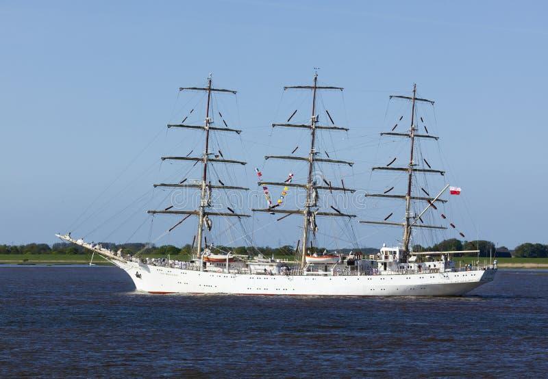Dar Mlodziezy, bateau de formation polonais de voile sur l'Elbe photos stock