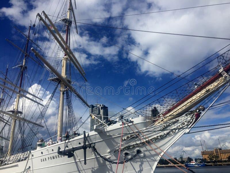 Dar Pomorza Tall Ship in Gdynia-Hafen stockbilder