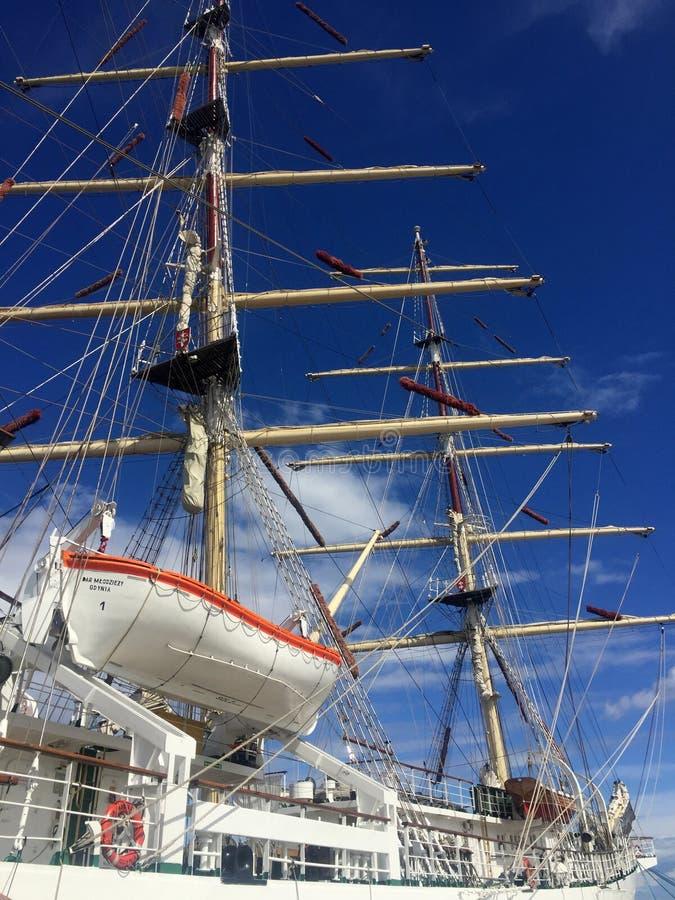 Dar Pomorza Tall Ship in Gdynia-Hafen lizenzfreie stockfotos