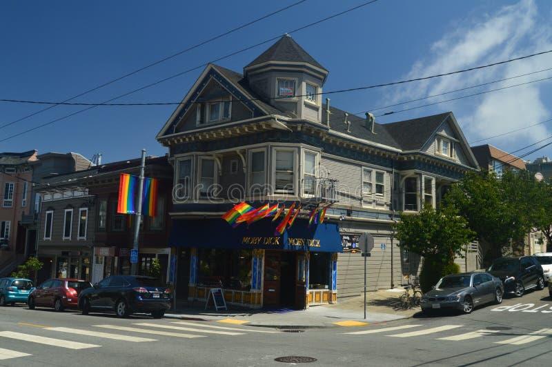 Dar uma volta através das ruas de San Francisco We Found The Moby Dick Store Feriados Arquitecture do curso imagens de stock royalty free
