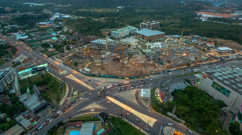 Darasamuth intersection the main road of Phuket city. there have new construction for development in Phuket city. Phuket,Thailand-February,21,2017:Darasamuth royalty free stock photo