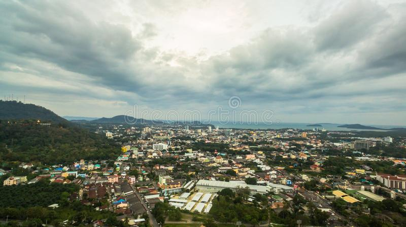Darasamuth intersection the main road of Phuket city. there have new construction for development in Phuket city. Phuket,Thailand-February,21,2017:Darasamuth stock photography