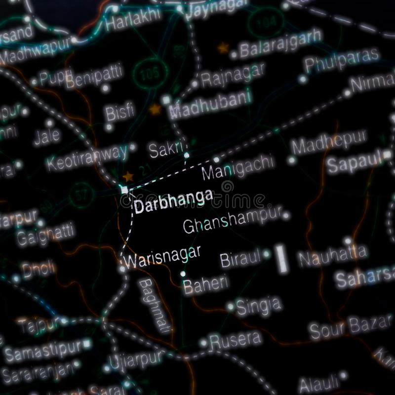 Darbhanga district displayed on geographic map in India. Darbhanga district in bihar name displayed on geographic map in india, , city, displaying, geographical stock images