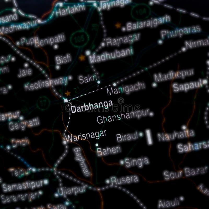 darbhanga mostra no mapa geográfico da Índia imagens de stock