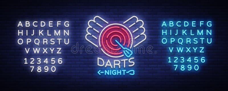 Darde l'enseigne au néon Illustration de vecteur Dards nocturnes lumineux faisant de la publicité, logo au néon, symbole, bannièr illustration libre de droits