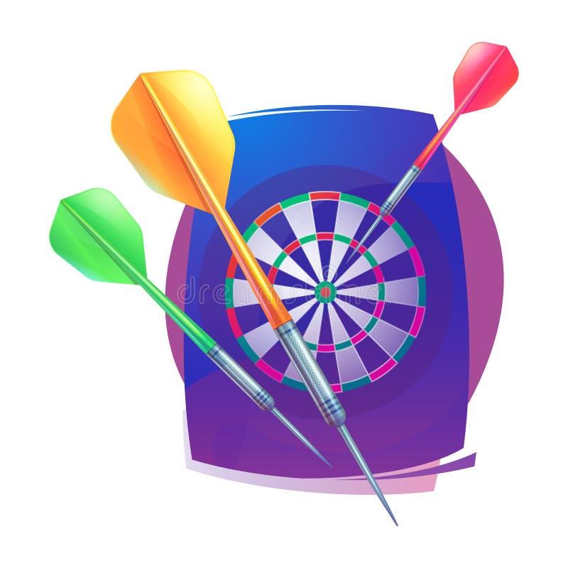 Dardeggia l'icona Simboli di sport di logo del distintivo Dardi, bersaglio, icona per lo sport, logo di sport e progettazione di  royalty illustrazione gratis