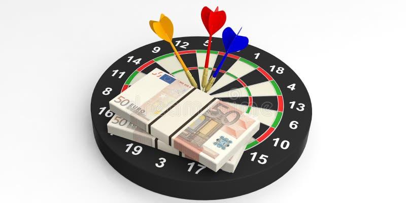 dardi e euro della rappresentazione 3d sull'obiettivo su fondo bianco royalty illustrazione gratis