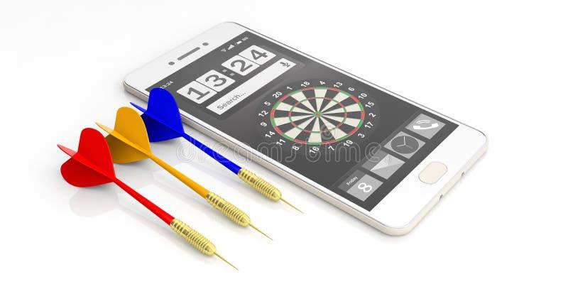 dardi e smartphone della rappresentazione 3d su fondo bianco illustrazione vettoriale