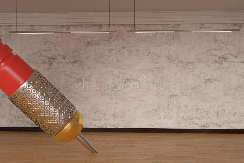 Dardo gigante en concepto creativo del piso de madera ilustración 3D ilustración del vector