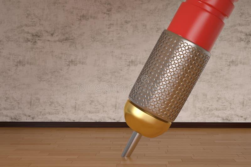 Dardo gigante en concepto creativo del piso de madera ilustración 3D stock de ilustración