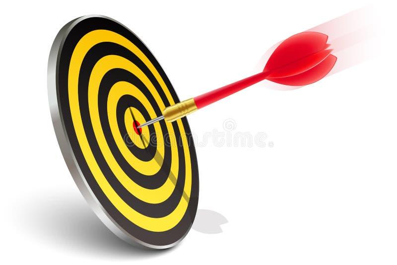 Dardo vermelho que bate o alvo ilustração stock