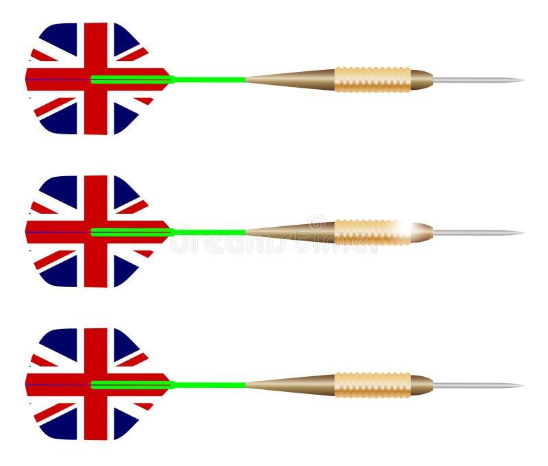 Dardos BRITÁNICOS aislados en blanco stock de ilustración