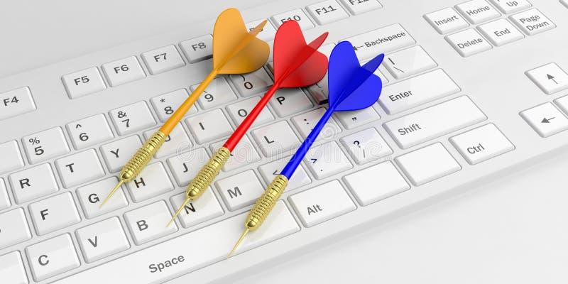 dardos de la representación 3d en el teclado blanco ilustración del vector