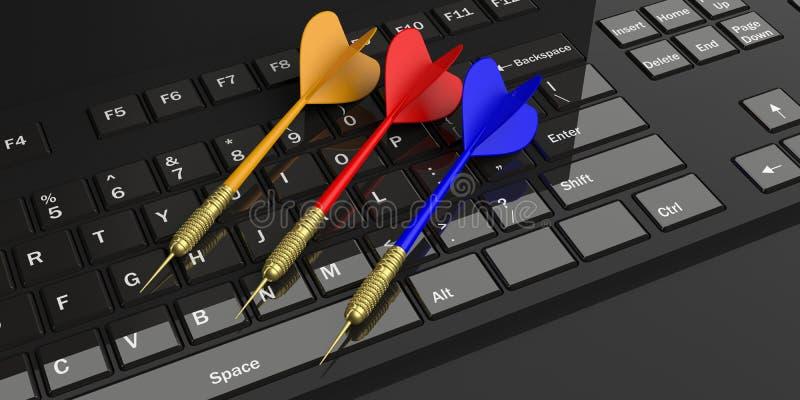 dardos de la representación 3d en el teclado negro stock de ilustración