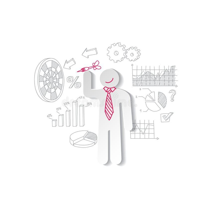 Dardos do homem e gráficos de negócio de papel Conceito do mercado ilustração stock
