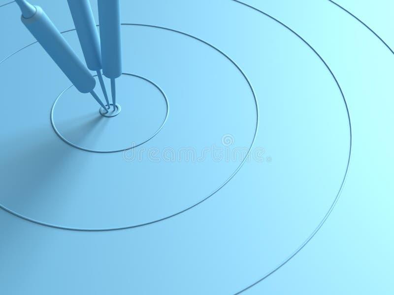 Dardos que golpean en el concepto mínimo del centro de la blanco ilustración del vector