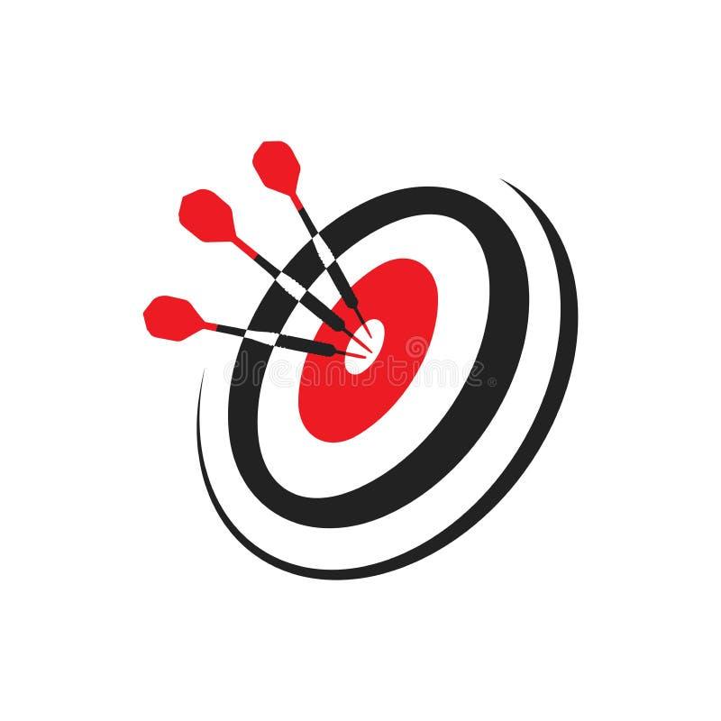 Dardos que golpean una blanco, ejemplo del vector del icono, logotipo ilustración del vector