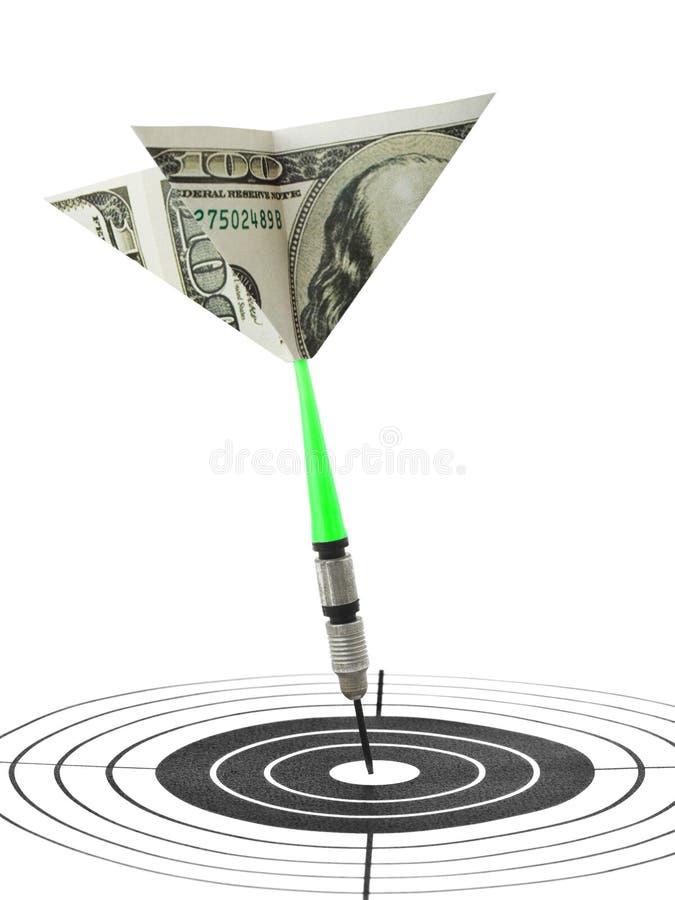 Dards et cible d'argent photographie stock libre de droits