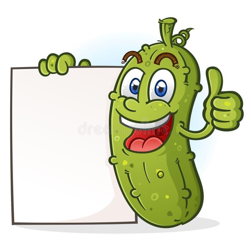 Dare del personaggio dei cartoni animati del sottaceto pollici sulla tenuta del bordo in bianco del manifesto illustrazione di stock
