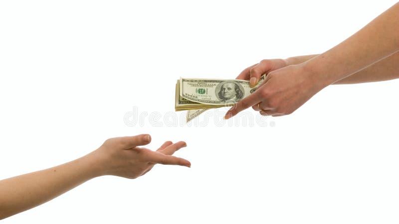 Dare soldi immagine stock