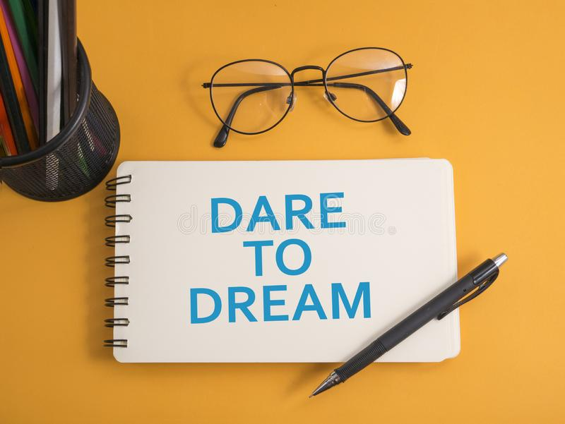 Dare to Dream. Words Typography Concept stock images