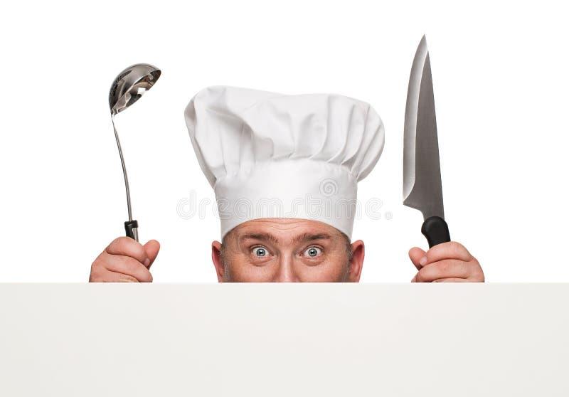 Dare una occhiata divertente del cuoco unico immagine stock