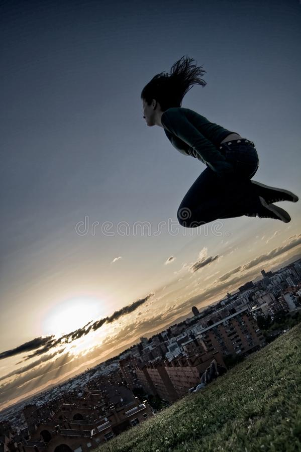 Daredevil. Jumping high for freedom stock photography
