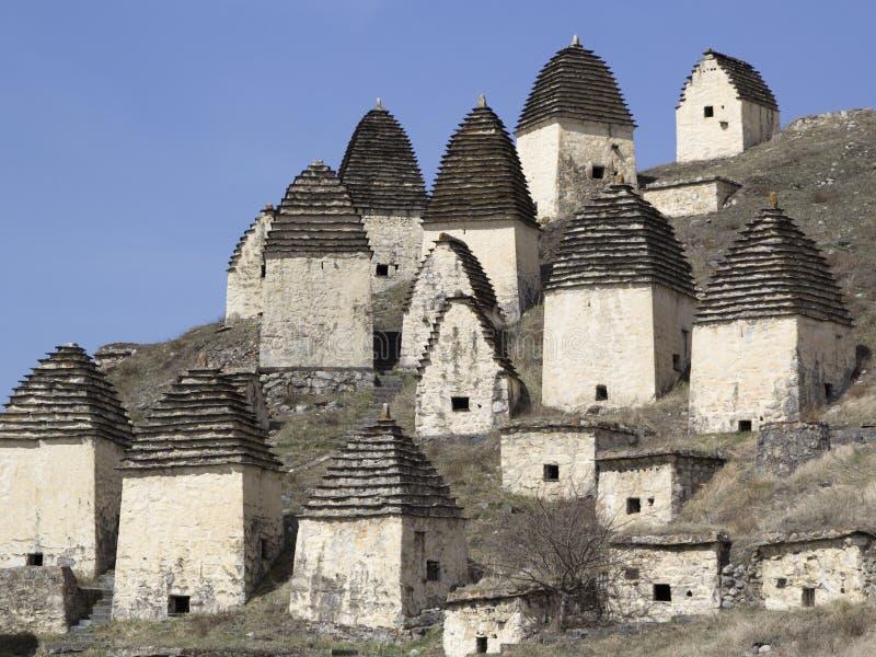 Dargavs, Noord-Ossetië, Rusland De stad van de doden is een oud necropool royalty-vrije stock foto's
