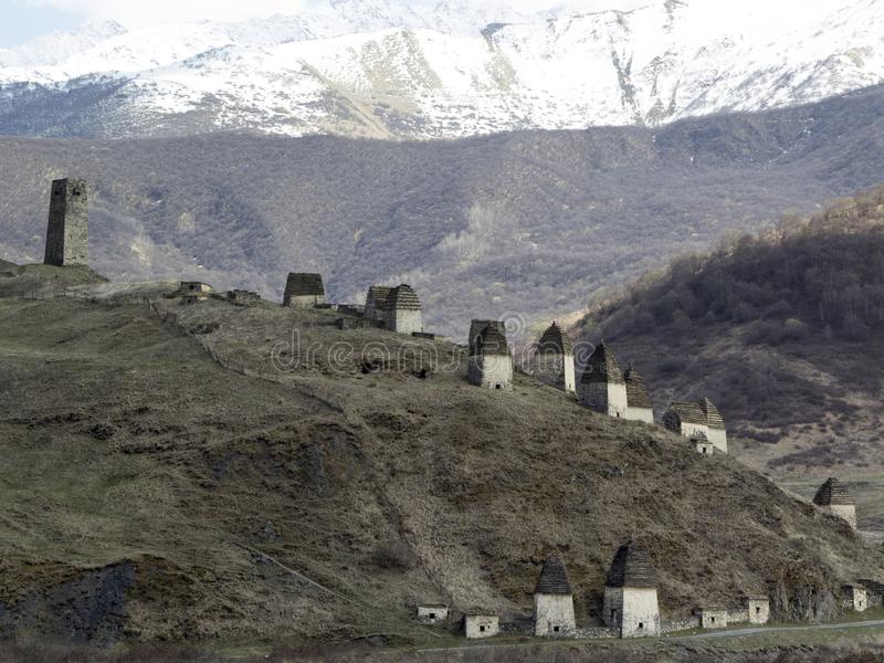 Dargavs, Ossetia del norte, Rusia La ciudad de los muertos es una necrópolis antigua foto de archivo libre de regalías