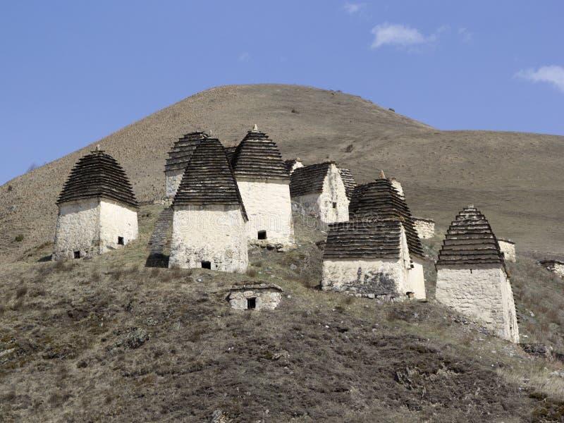 Dargavs, Ossetia del norte, Rusia La ciudad de los muertos es una necrópolis antigua fotos de archivo libres de regalías