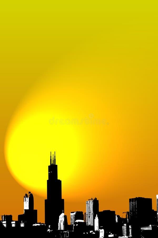 Dargestellte Skyline von Chicago stockfotos