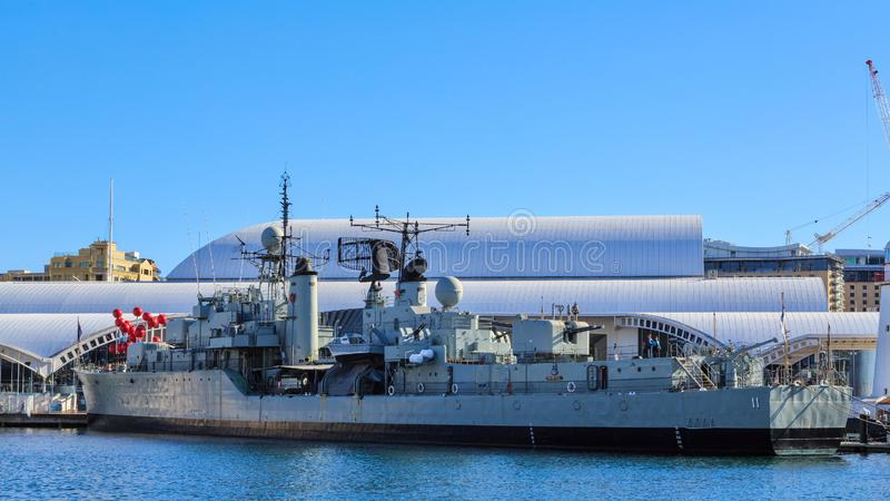 Destroyer HMAS `Vampire` in Darling Harbour, Sydney, Australia. The Daring-class destroyer HMAS `Vampire`, commissioned by the Royal Australian Navy in 1959, now royalty free stock photography