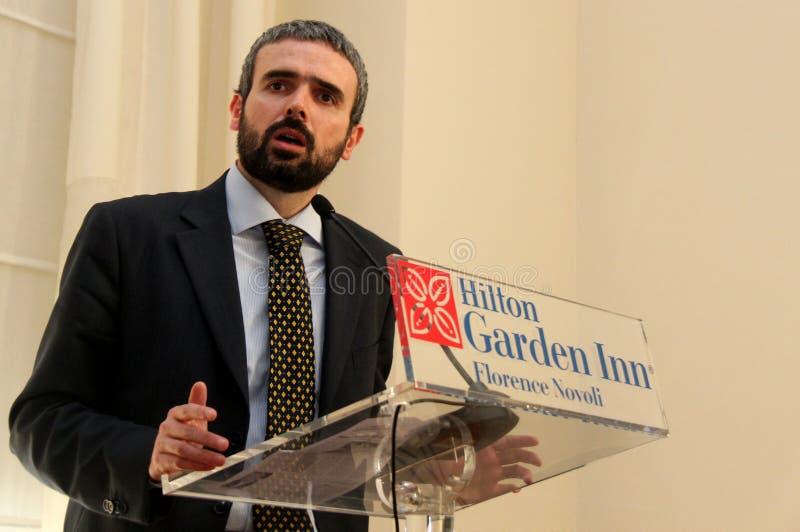 Dario Parrini Member du Parlement et du secrétaire de partie italiens Tuscan Pd image libre de droits