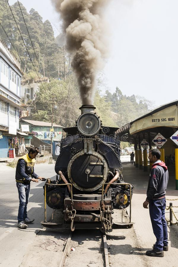 Darjeeling, India, March 3 2017: Shunting the steam locomotive in the train station royalty free stock photography