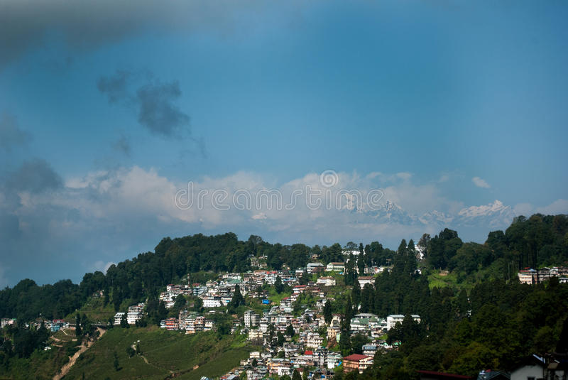 Darjeeling Landscape. A popular tourist destination Darjeeling, it is located in the Mahabharat Range or Lesser Himalaya at an average elevation of 6,710 ft (2 royalty free stock photos