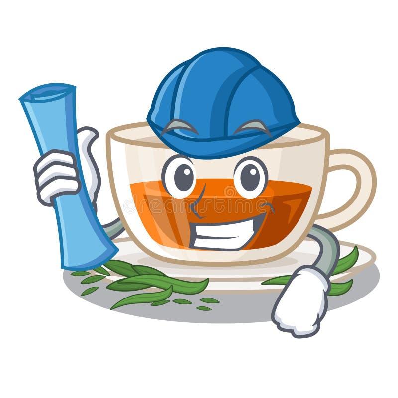 Darjeeling te för arkitekt i maskotformen stock illustrationer