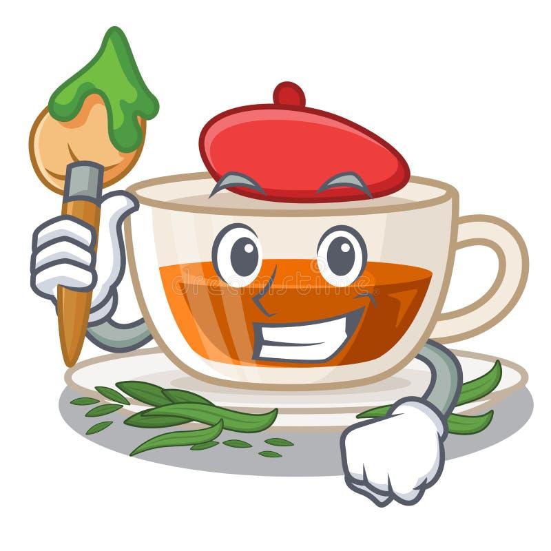 Darjeeling te för konstnär som isoleras i tecknade filmen royaltyfri illustrationer